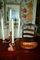 Gregorian Solid Copper Five Arm Candelabra BONUS 5 new candles $29.99