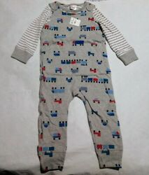 NWT Hanna Andersson Train Overalls Long Sleeve Tee Outfit 90 3T Toddler Boy $25.99