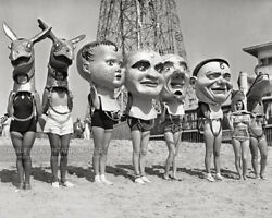 Vintage 1930s Photo Women in Bathing Suits with Giant Heads Masks Venice Beach $7.95