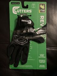 Cutters Football Gloves Rev C Tack Black Youth Small See Description $14.00