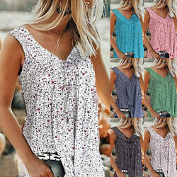 Women#x27;s Casual Floral Print V neck Tank Tops Summer Sleeveless Tunic Blouse $13.99