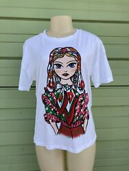 NWD ZARA White WOMEN T SHIRT WITH FRONT PRINT SIZE S #5187 0264 909 250 $19.99