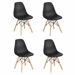 Set Of 4 Modern Style Dining Chair Mid Century Dining Room Wooden Legs Black $78.00