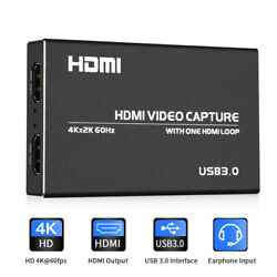 60fps 4K HDMI Gaming Capture Card Audio Video Converter Switcher For Broadcasts $58.56