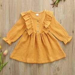 NEW Mustard Yellow Girls Long Sleeve Ruffle Dress 2T 3T 4T 5T $10.99