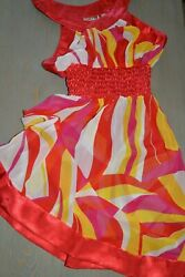 Womens Dress LULY K USA Sheer Red Yellow Bold Print Summer Sun Beach Dress Small $9.99
