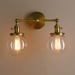 5.9quot; Globe Antique Industrial 2 Light Wall Sconce Twin Glass Lampshades w Switch $104.99