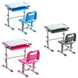 Student Drawer W Tilted Desktop Height Adjustable Desk And Chair Set Pull Out $85.59