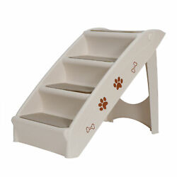 Foldable Pet Stairs Dog Ladder w Support Frame for High Bed 4 Non slip Steps $35.99