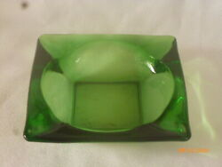 Vintage Green Glass 4 5 8quot; Square Ashtray $16.44