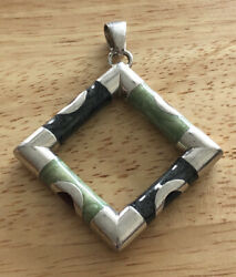 Sterling Silver Pendant Contemporary Modernist Green Gray Red Square Signed $25.20