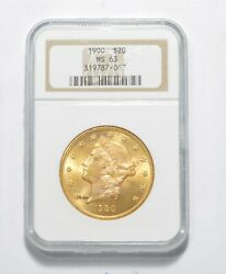 MS63 1900 $20.00 Liberty Head Gold Double Eagle Graded NGC *9584 $2349.00