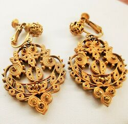 VINTAGE MIRIAM HASKELL GILT BRASS FILIGREE DROP CHANDELIER CLIP EARRINGS SIGNED $119.00