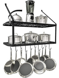 Wall Mount Pot And Pan Rack Hook Holder Hanging Kitchen Organizer Rail System US $40.99