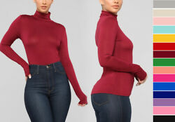 Women#x27;s Basic Scrunch Turtle Neck Long Sleeve Top Fitted T Shirt Solid Soft Knit $14.99