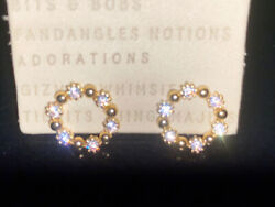 ANTHROPOLOGIE SMALL GOLD TONE amp; RHINESTONES SPARKLE CIRCLE POST EARRINGS NEW $18.95