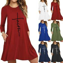 Womens Plus Size A Line Casual Loose Sun Dresses Ladies Swing Pocket Tunic Dress $17.29