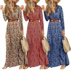 Women Bohemian Floral Long Maxi Dress Ladies Boho Holiday Belted Loose Dresses $22.51