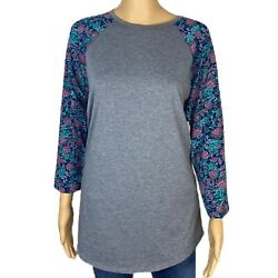 Womens LULA ROE 3 4 Sleeve Gray Floral Sleeve Top Size XL $11.95