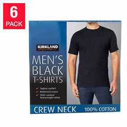 Kirkland Men#x27;s 6 pack Black 100% Cotton Crew Neck T shirt FREE SHIPPING