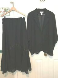 TALLY TAYLOR Beautiful Embellished Black Skirt Suit Size 16W $49.99