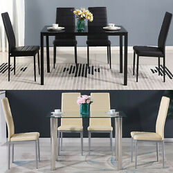 5 Piece Dining Table Sets Glass Metal 4 PU Leather Chairs Kitchen Room Furniture $172.99
