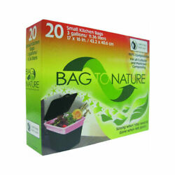 Bag To Nature MBP35201 Small Kitchen Compost Bags 3 Gallon 17quot;x16quot; 20 Count $13.56
