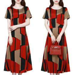 Womens Colorblock Short Sleeve Round Neck Maxi Dress Casual Loose Party Dresses $12.82