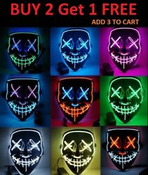 Halloween Clubbing Light Up quot;Stitchesquot; LED Mask Costume Rave Cosplay Party Purge $8.45