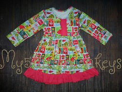 NEW Boutique Dr Seuss Grinch Girls Long Sleeve Ruffle Dress Christmas $16.99