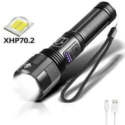 Xhp70 2 LED Brightest Flashlight Torch Rechargeable Powerful Waterproof Lamp New $25.38