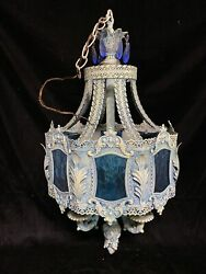 vintage Chandelier: Shabby Chic light fixture Blue Glass Crystals French Detail $325.00