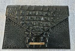 BRAHMIN Kylie Black Croc Embossed Clutch Shoulder Bag NWT