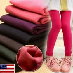 Age 3 13 Kids Girls Winter Thermal Fleece Lined Leggings Slim Pants Trousers BY $6.90