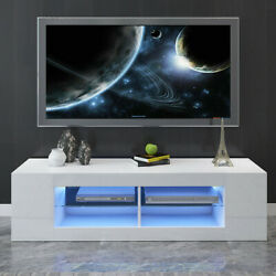 """59"""" Modern High Gloss TV Unit Cabinet Stand with LED Lights Shelves Home White $119.99"""
