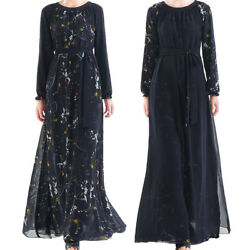 Dubai Arab Long Abaya Printed Chiffon Long Sleeve Maxi Dress Evening Party Gown $32.20