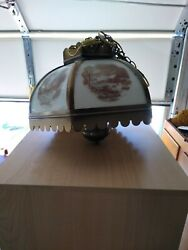 Vintage Currier and Ives Metal Glass Panel Farmhouse Electric Hanging swag Lamp $125.00