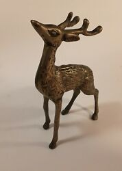 Vintage Brass Deer Reindeer Figurine 6 Inches High $8.99