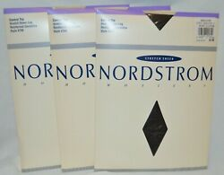 3 pair LOT NORDSTROM Size D BLACK C Top Pantyhose Stretch Sheer up to 185lb KK3 $14.88