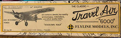 VINTAGE FLYLINE MODELS TRAVEL AIR 6000 R C BALSA AIRPLANE KIT #115 $58.00