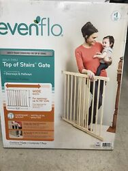 Evenflo New Wood Baby Safety Gate With Child Safety amp; Pet Barrier Natural $46.00