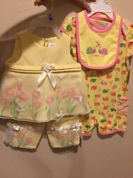 Jumping Beans YoungLand Summer Girls Outfits 6 9 month dress romper Pink Yellow $15.00