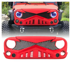 Red Front Hawke Grille With Mesh For 07 18 Jeep Wrangler JK JKU ABS Plastic $109.00
