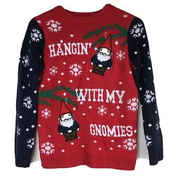 Christmas Sweater Hanging with my Gnomies Women#x27;s Large Gnomes Holiday $14.99