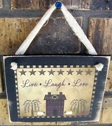 Live Laugh Love Hanging Wall Sign Plaque Primitive Country Rustic Farmhouse $9.95