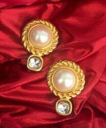 Vintage Givenchy Earrings Pearl Crystal clip on Goldtone Designer couture 80s $225.00