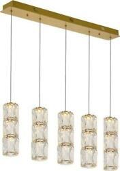 POLARIS PENDANT CONTEMPORARY 5 LIGHT GOLD CRYSTAL CLEAR STAINLESS STEEL $529.00