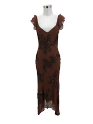 N1408 SUE WONG Designer Dress Size 6 Small Brown Beaded Silk Formal Maxi