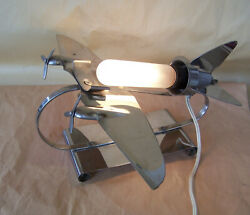 SASPARILLA DECO DESIGNS NYC CHROME DECO DESIGN AIRPLANE LAMP NO SHADE 4 PARTS $35.00