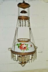 Antique HANGING OIL LAMP Painted Roses FLORAL SHADE Retractable Bamp;H Hanger Frame $329.99